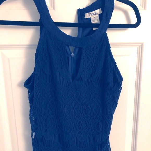 Pinky Tops - Navy Lace High Neck Sleeveless Top